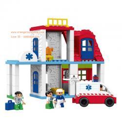 DIY BLOCK บล๊อก ชุดบล๊อกสร้างโรงพยาบาล พร้อมรถพยาบาล แบบกล่อง 60 ชิ้น **400230/HG1272**