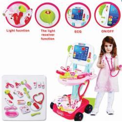 ( เครื่องมือหมอ ชุดหมอ )ชุดรถเข็นเครื่องมือหมอ สีชมพู รถหมอ 2 ชั้น สีชมพู มีเครื่องตรวจหัวใจ