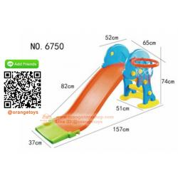 (SLIDER) รุ่นใหม่ - สไลด์เดอร์ โลมา ขนาดกลาง พร้อมแป้นบาส หลากสี รับน้ำหนักได้ 30 กิโลกรัม **กระดาน สีส้ม ***