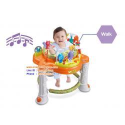 (สีส้ม )Happy Jungle Walker เก้าอี้หมุน 360 องศา เก้าอี้เด็กนั่ง + หัดเดิน สินค้าจาก konig kids