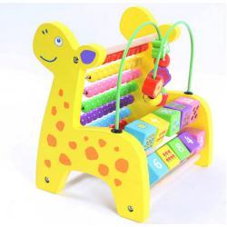 ของเล่น กล่องกิจกรรมไม้ ยีราฟไม้ ลูกคิดไม้ ยีราฟลูกคิดไม้ 7 ชั้น