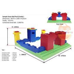 DIY BLOCK บล๊อกตัวต่อ ตัวต่อยักษ์ Macrobrik ทรงปราสาท Set 875 ชิ้น พร้อม ลูกบอล 3000 ลูก
