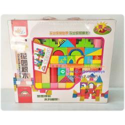 ของเล่นไม้ บล็อกไม้ ตัวต่อไม้จินตนาการ 52 ชิ้น ชุด garden building blocks