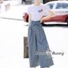 เสื้อผ้าเกาหลี พร้อมส่ง เสื้อผ้ายืดสีขาว กับ กางเกงสีฟ้า