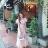เดรสเกาหลี พร้อมส่ง เดรสตัวยาว สีชมพู