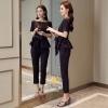เสื้อผ้าเกาหลี พร้อมส่ง ชุดเซท เสื้อ+กางเกง สีกรม