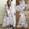 เดรสเกาหลี พร้อมส่ง ชุดเดรส ผ้าคอตตอนสีขาวปักลายดอกไม้