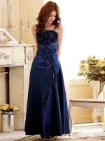 ** In Stock ** ชุดราตรียาว สายเดี่ยว ผ้าโพลีเอสเตอร์ อกประดับดอกกุหลาบแสนสวย สีน้ำเงิน (XL)