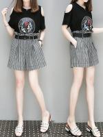 ชุดเซ็ท ชุดลำลอง ชุดสันทนาการกีฬา 2ชิ้น เสื้อยีดสีดำไหล่เว้า กางเกงเอวสูงขาสั้น สำหรับสาวไซด์ใหญ่ มีถึง 4XL ค่ะ