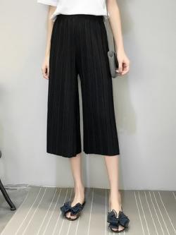 กางเกงขา7ส่วนเกาหลี เอวสูง ผ้าซีฟองใส่สบาย มี4สี