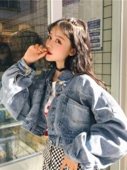 เสื้อแจ็คเก็ตยีนส์เกาหลี สีน้ำเงิน ทรงสั้นแนวเสื้อครอป