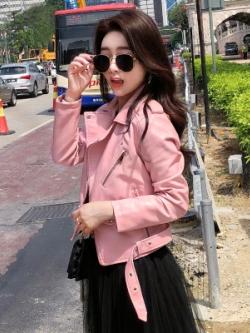 เสื้อแจ็คเก็ตหนังเกาหลี แต่งสายเข็มขัดรัด
