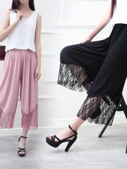 กางเกงขาเต่อเกาหลี แต่งซีทรูปลายขา ดีไซน์ขากว้าง มี3สี