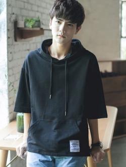 เสื้อฮู้ดแจ็คเก็ตเกาหลี แขนห้าส่วน ทรงหลวม มี3สี