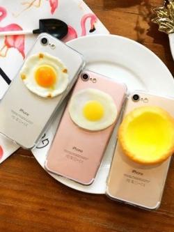 เคสไอโฟน/iPhone ตกแต่งอาหารไข่จำลอง มี3แบบ