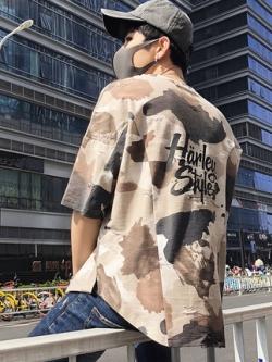 เสื้อยืดแขนสามส่วนเกาหลี แต่งลายพรางเซอร์ๆ มี2สี
