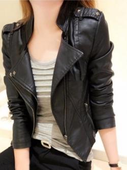 เสื้อแจ็คเก็ตหนังเกาหลี สีดำ แนวนักแข่งรถ