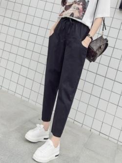 กางเกงขาเต่อเกาหลี ทรงเข้ารูป แต่งเชือกผูก มี4สี