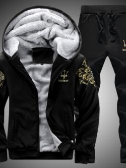 Pre Order ชุดวอร์มกันหนาวแฟชั่นเกาหลี บวกขนแกะ เสื้อแขนยาวมีฮู้ด+กางเกงขายาว มี3สี