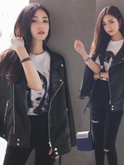 เสื้อแจ็คเก็ตหนังเกาหลี สีดำ แต่งซิบกระเป๋า