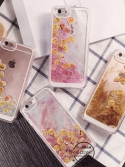 เคสไอโฟน 6/6plus แต่งรูปไอคอม+กากเพชร มี4สี