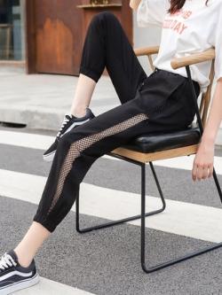 กางเกงขายาวเกาหลี จั้มขอบขา แต่งตาข่ายด้านข้างเซ็กซี่ มี2สี