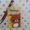 ซองใส่บัตรต่างๆ พร้อมสายคล้องคอ ริลักคุมะ Rilakkuma ขนาด 10 ซม. * 6 ซม. ลายริลักคุมะ สีเหลืองน้ำตาล