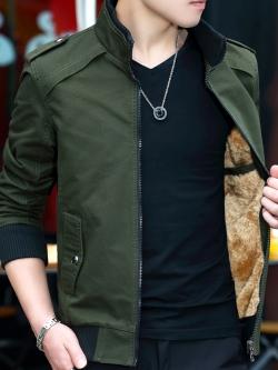 Pre Order เสื้อแจ็คเก็ตกันหนาว แขนยาว แนวเกาหลี ด้านในบุด้วยกำมะหยี่ มี5สี