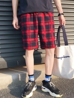 กางเกงขาสั้นเกาหลี ลายตารางสก๊อต มี4สี