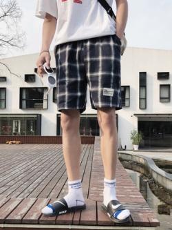 กางเกงขาสั้นเกาหลี ลายตาราง สไตล์ลำลอง มี3สี