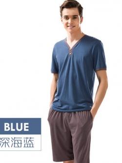 ชุดนอนเกาหลี แต่งคอเสื้อV เสื้อแขนสั้น+กางเกง มี3สี