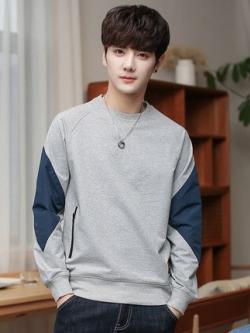 เสื้อแฟชั่นแขนยาวเกาหลี แต่งลายแขนเสื้อ มี2สี