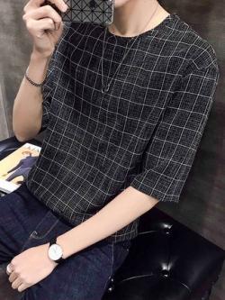 เสื้อแฟชั่นแขนสามส่วนเกาหลี ลายตาราง มี2สี