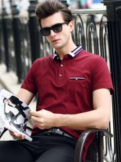 เสื้อโปโลแขนสั้น แต่งคอปกเสื้อ แนวยุโรป มี5สี