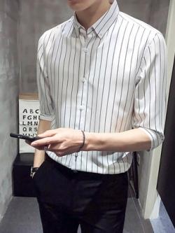 เสื้อเชิ้ตเกาหลี ลายเส้นตรง แขน5ส่วน มี6สี